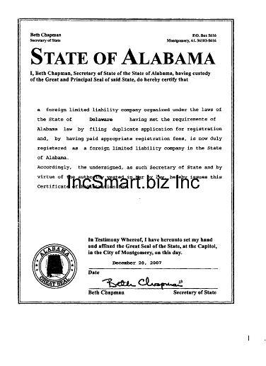 Alabama Llc Form Filing Fees Incsmart Alabama