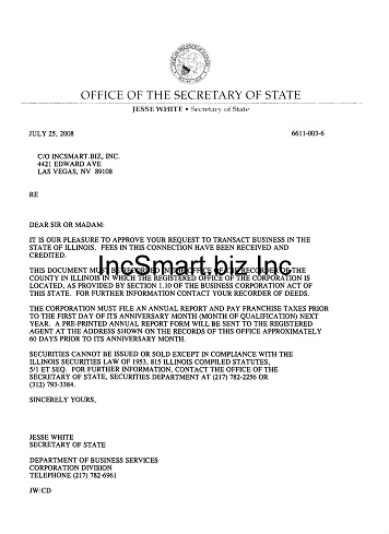 Illinois Registered Agent Service 49 For Illinois Corporation And